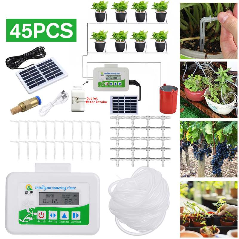 Intelligent 10m Automatic Micro Drip Irrigation System Solar Energy Charging Garden Irrigation Spray Self Watering Timer Kits|Watering Kits| |  - title=