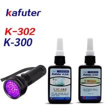 Forte potência 51led uv luz + kafuter 50ml cola uv uv cura adesivo K-300 cristal transparente e adesivo de vidro