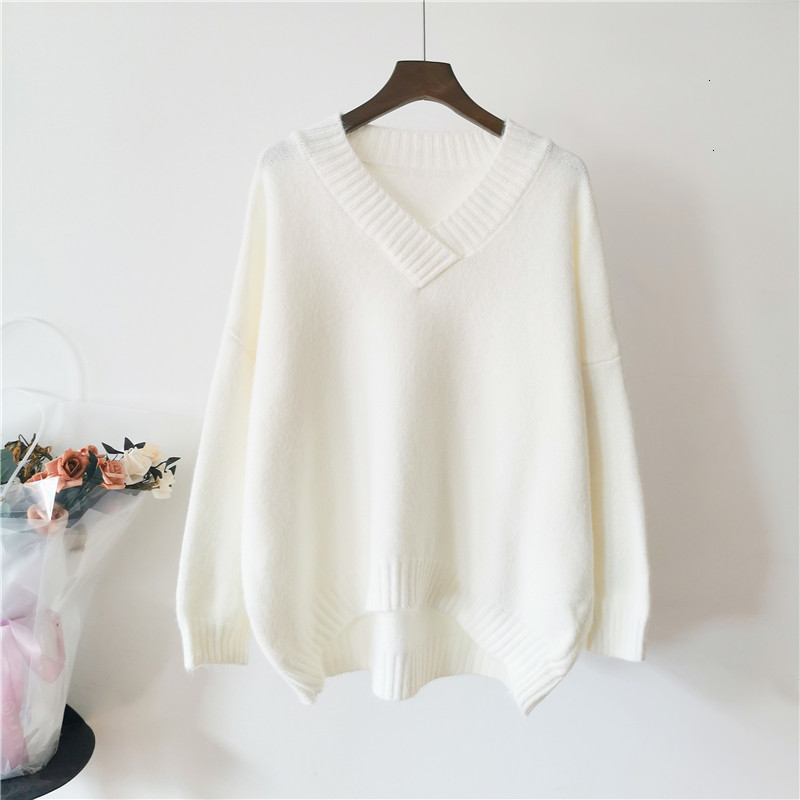 All Match V-Neck Loose Solid Casual Long Sleeve Knitted Sweater Pullover Fashion Winter  Pull Femme Female   Women New 2019