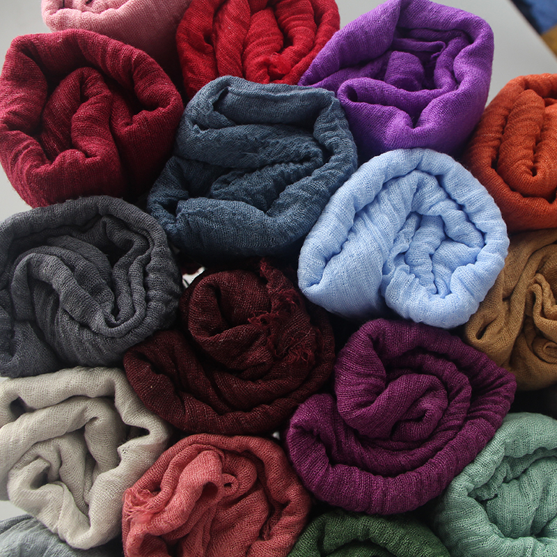 Image 5 - 2019 Fashion Women Muslim Scarf Cotton Hijab Plain Soft Shawls 