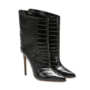 Image 3 - Mstacchi女性冬のパテントレザーブーツ女性ポインテッドトゥシンハイヒールの靴レディースセクシーなメタルゴールデンのための女性