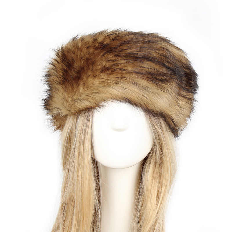 Fur Hat For Women Natural Thicken Fluffy Fur Hat Headband Russian Winter Thick Warm Ears Fashion Bomber Hat Faux Fur Caps