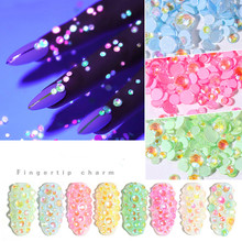 New Luminous Crystal Nail Rhinestones Mix Size SS6-SS20 Diamond Jewelry Glow In The Dark 3D Art Strass Set