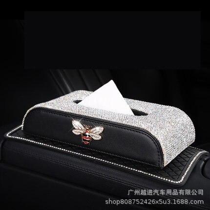 Car Mounted Tissue Box Diamond Set Women's Cute Fashion Car Decoration Car Supplies Car Paper Extraction Box Seat Type Tissue Co