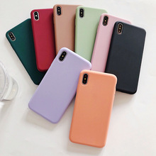Plain Matte Silicone Phone Case For iPhone X XS Max XR Soft TPU Case For iPhone 8 7 6 6s Plus Back Cover Anti-fall Funda matte anti fingerprint soft tpu case for iphone 6s 6 4 7 inch black