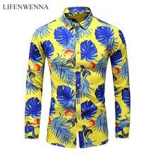 Men's Shirt Flower-Printing Business Long-Sleeve Male Casual New-Fashion LIFENWENNA Autumn