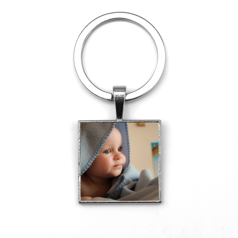 Personalized Custom Picture Family Portrait Square Keychain Baby Photo Children Private Custom Mom Dad Grandparents Unique