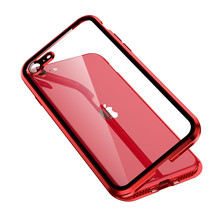 Metal Magnetic Case + double-sided Tempered Glass Magnet Case Cover For iPhone 11 Pro Max XR XS MAX X 8 7 6s 6 Plus SE SE2 2020 privacy tempered glass magnetic case for iphone 11 pro max xs max xr x 8 7 6s 6 plus se magnet metal bumper anti peeping cover