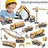 Alloy Engineering Vehicle Truck Excavator Wheel Loader Diecast Alloy Model Construction Vehicle Freewheeling Car Toys For Boys