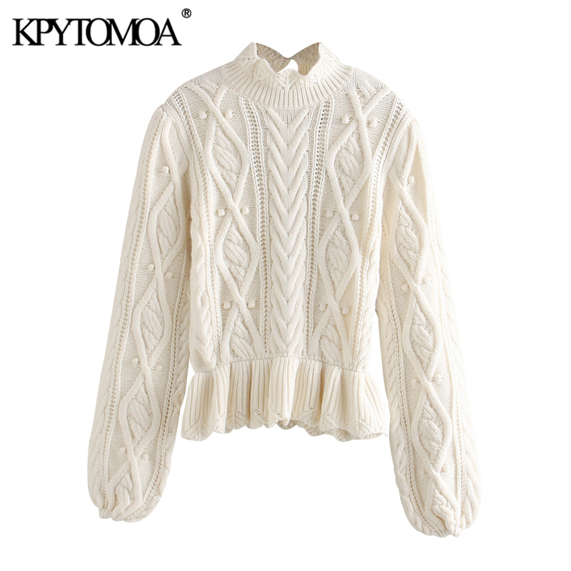 KPYTOMOA Women 2020 Chic Fashion Ruffled Cable Knitted Sweater Vintage High Neck Puff Sleeve Female Pullovers Chic Tops