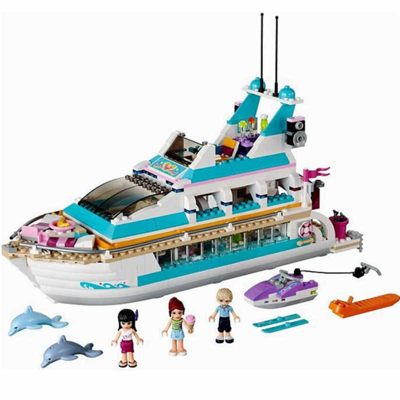 New Girl Friend Olivia Emma Mia Holiday Boat 3D Building Blocks Children's Toys Compatible Friends Legoinglys Christmas Gifts