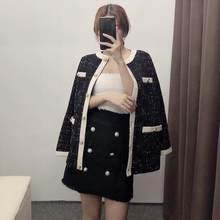 CC autumn winter Women tweed Coat Stitching knitted plaid Jacket Single-breasted o-neck white black(China)