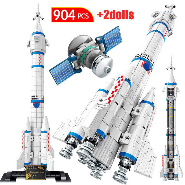 City Technic Aviation Rocket Bricks Artificial Satellite Launch Vehicle Pad Creator Space Cosmonaut Building Blocks Toys for Kid