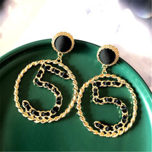 Women Female Vintage Long Big Dangle Drop Earrings Fashion Hyperbolic Number 5 Metal Earrings Jewelry Wholesale-MS-W17