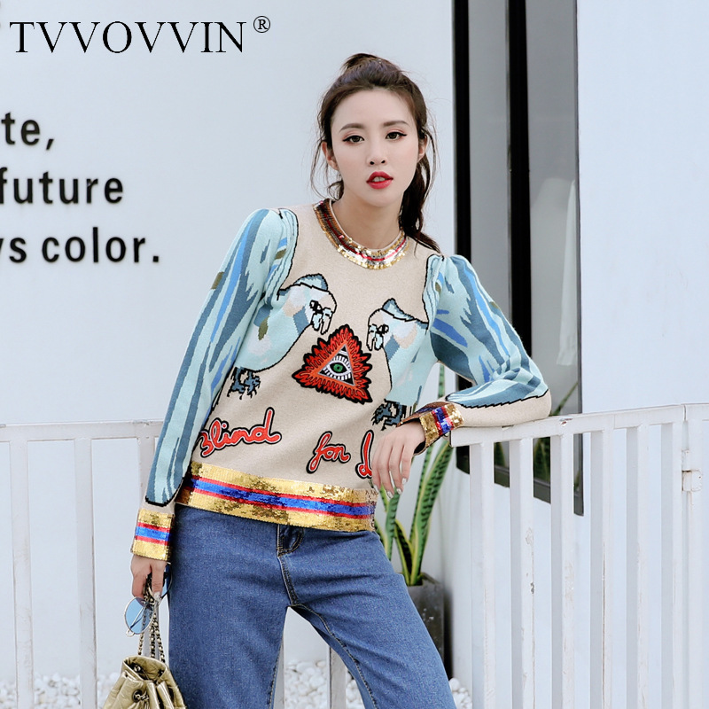 TVVOVVIN 2019 automne hiver nouvelle broderie paillettes tricot chandails femmes vestes femme pulls pulls A587-in Pulls from Mode Femme et Accessoires on AliExpress - 11.11_Double 11_Singles' Day 1