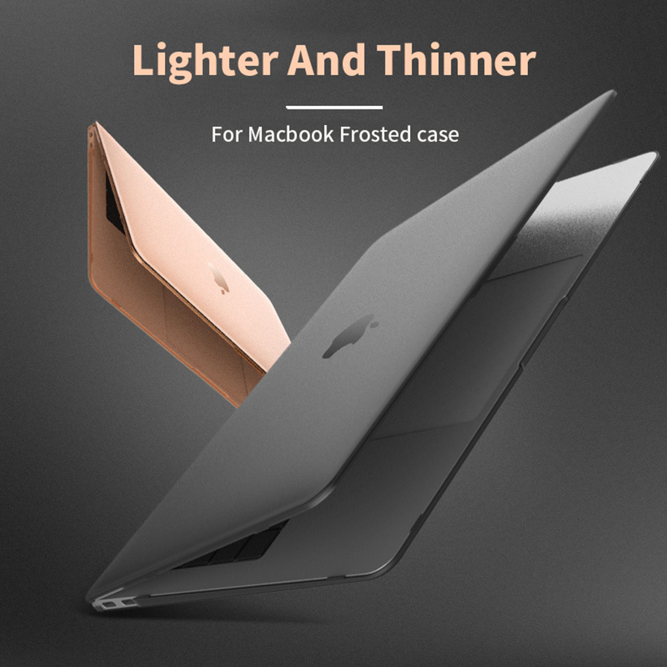 Matte Frosted Case Laptop Case for Apple MacBook Air Pro 13.3 15 13 12 Inch Case New Pro 13 A1932 A1989 Cover with Touch Bar