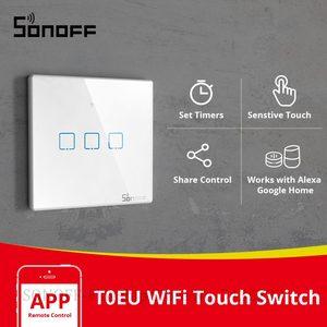 Image 1 - Itead SONOFF Smart Touch Schalter T0EU 1/2/3 Gang Wifi Wand Licht Schalter Glas Fernbedienung WorkWith Alexa Google Home e Welink
