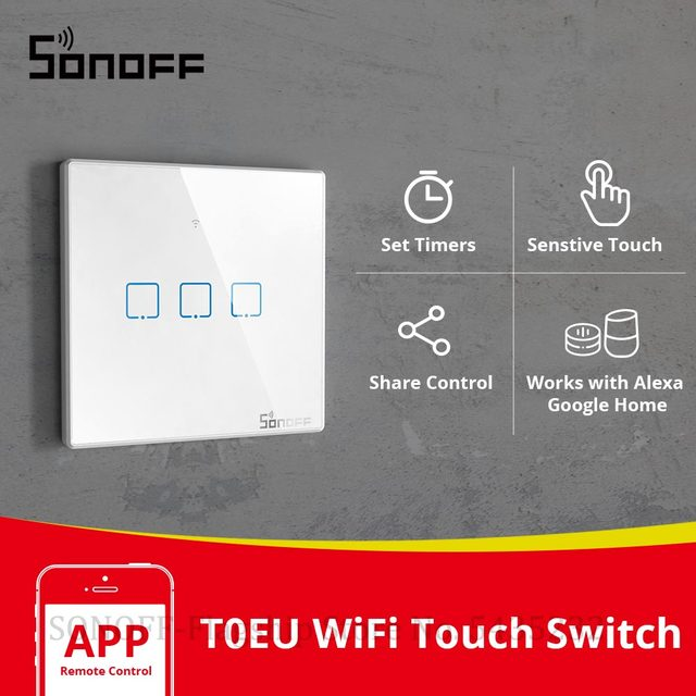 Itead SONOFF Smart Touch Schalter T0EU 1/2/3 Gang Wifi Wand Licht Schalter Glas Fernbedienung WorkWith Alexa Google Home e Welink