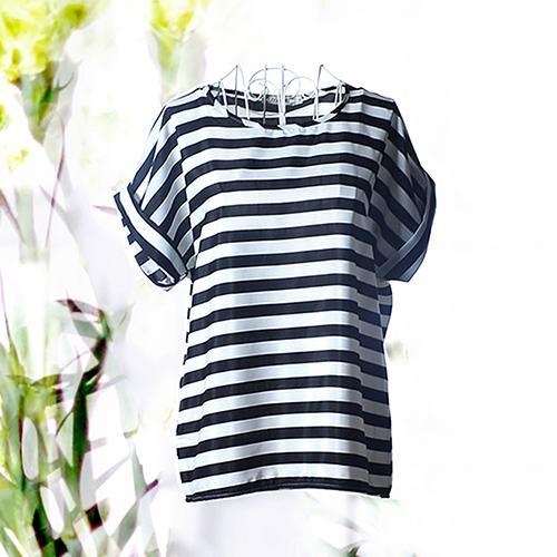 2120 fashion Top Female Plus Size Casual O-Neck Shirts Women Fashion Summer Print Striped Chiffon Batwing Sleeve T-shirt