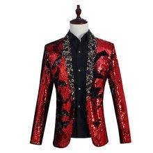New men's club blazers jacket one button sequins host coat