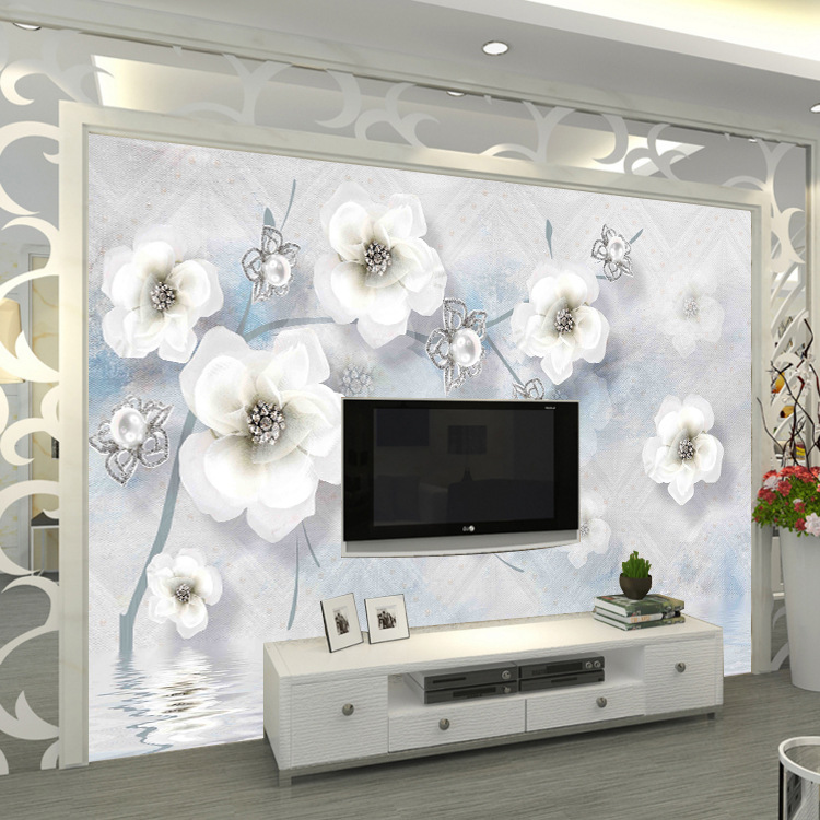 8d Relief Jewelry Flower Modern Living Room Seamless Wall Cloth Stereo Bump Customize The Murals TV Background Wallpaper