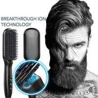 Multifuncional pente de cabelo escova barba alisador de cabelo endireitar pente modelador de cabelo rápido modelador de cabelo para homem