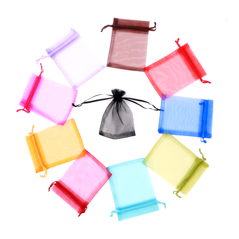 Wholesale 50pcs/Bag 7*9 8*10 9*12 10*15 Drawstring Organza Bags Pouches For Wedding Party Christmas Gift Packaging Bag