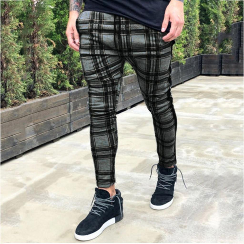 Men's Long Casual Sport Cargo Pants Slim Fit Plaid Trousers Running Joggers Sweatpants Pantalon Homme Streetwear Hip Hop брюки