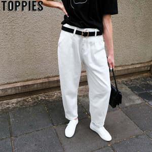 Toppies Pants Boyfriend Trousers White Jeans Loose High-Waist Denim Woman Harem Mujer