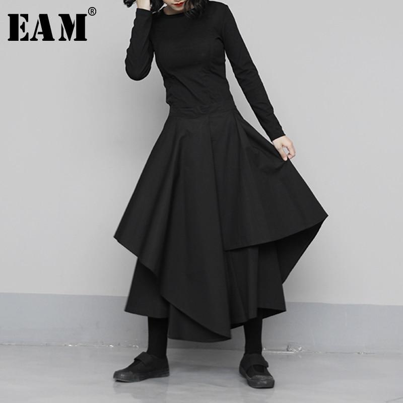 [EAM] High Elastic Waist Black Asymmetrical Wide Leg Trousers New Loose Fit Pants Women Fashion Tide Spring Autumn 2020 1N683
