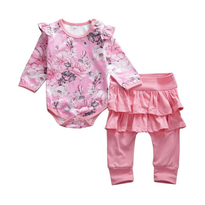 Newborn Baby Girls Floral Ruffled Sleeve Bodysuit Romper Pants 2Pcs Outfits Sets