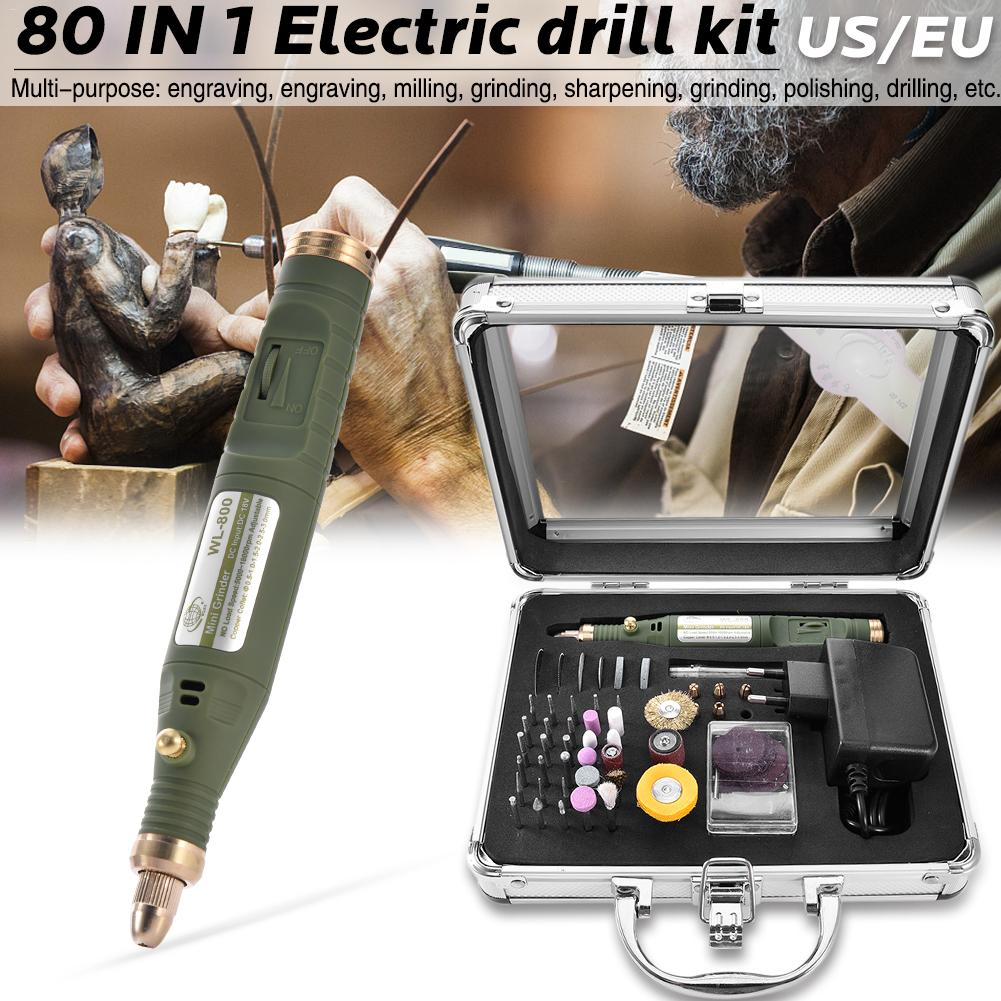 80-IN-1 Mini Electric Rotary Drill Grinder With Grinding Accessories Set Multi-Function Engraving Machine Power Tool Kit #35