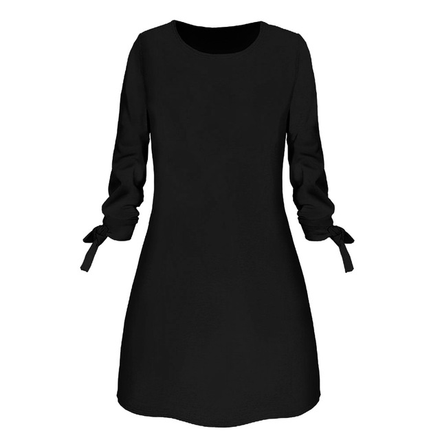 Spring New Fashion Solid Color Dress Casual O-Neck Loose Dresses 3/4 Sleeve Bow Elegant Beach Female Vestidos Plus Size 6