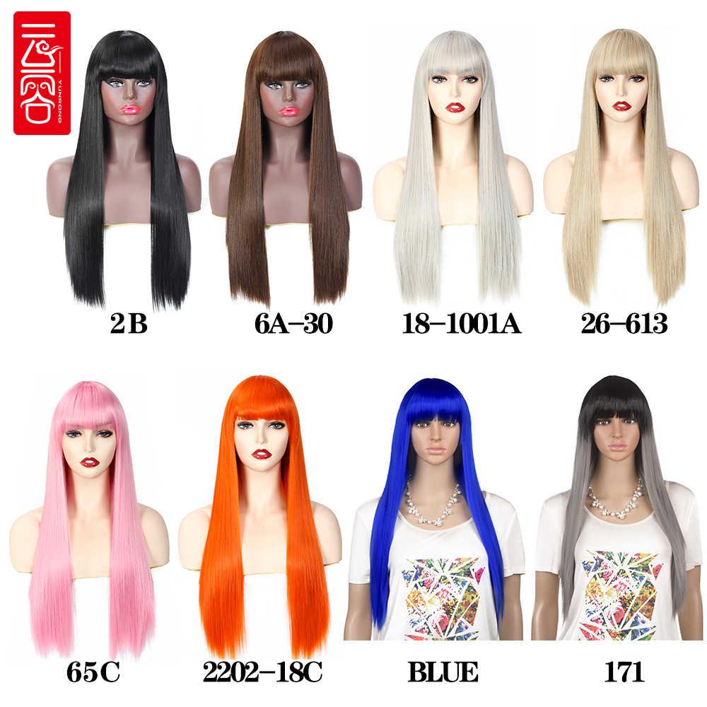 Perucas sintéticas longas de seda reta do cabelo com franja preto marrom rosa laranja cinza peruca sintética cosplay para mulher resistente ao calor