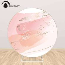 Allenjoy Watercolor Splash Brush Round Circle Backdrop Covers Pink Graffiti Wedding Cake Tablecloth Backgrounds Pastel Wallpaper