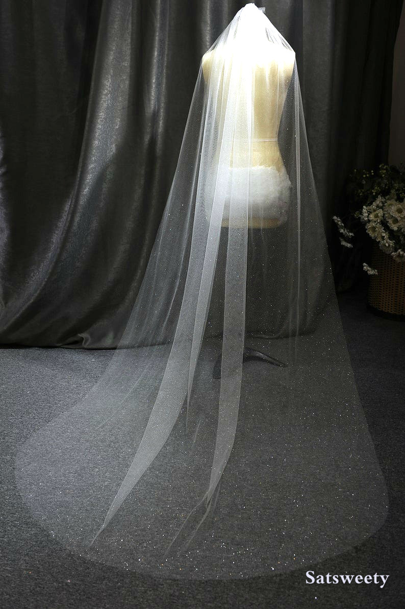 High Quality Shiny Woman Bridal Veils 1 Layers 200 CM With Comb Blush/Ivory Veil For Bridal Cut Edge Tulle Wedding Veil