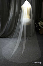 High Quality Shiny Woman Bridal Veils 1 layers 200 CM With Comb Blush/Ivory Veil for Cut Edge Tulle Wedding