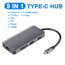 9-in-1 USB C Type C HUB USB-C to HDMI 4K /SD/TF Card Reader/ PD charging /3.5mm Audio /RJ45 Adapter for MacBook Pro HUB all in 1 usb c adapter type c to hdmi vga converter usb hub with sd tf card reader pd charging rj45 adapter for macbook