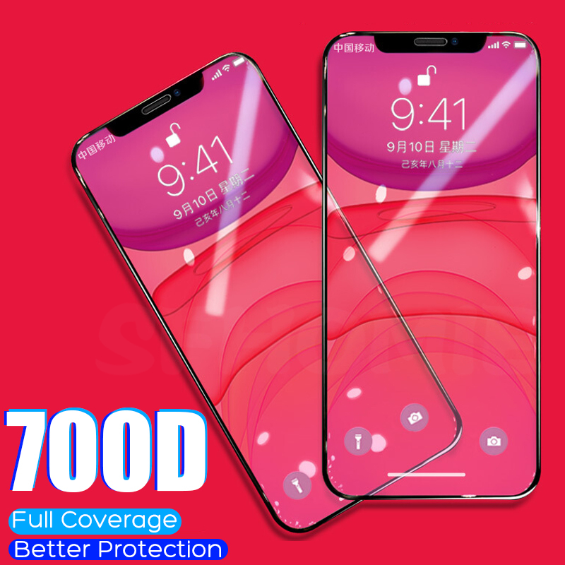 700D Full Coverage Protective Glass For iPhone 11 Pro XS Max 7 Tempered Glass For iPhone 7 6 8 6s Plus XR X 11 Screen Protector image