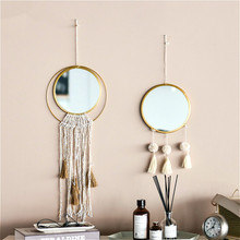 Nórdicos borla de oro marco de Metal del espejo espejos de pared dormitorio colgante redondo espejo de maquillaje tienda casa decoración accesorios de baño