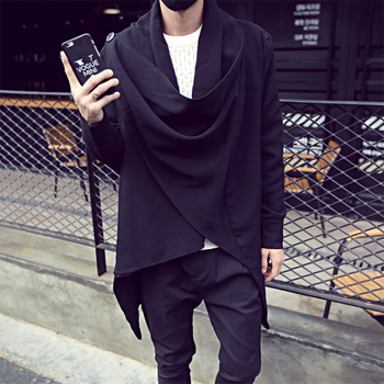 Spring Thin Cardigan Trench Men Long Cloak Dark Coat Male Loose Fashion Coats Jackets Stage Performance Cosplay Clothes Big Size