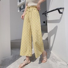 Summer Women Polka Dot Loose Pants Long Chiffon High Waist Wide Leg Pant Trousers Streetwear polka dot print capri pants