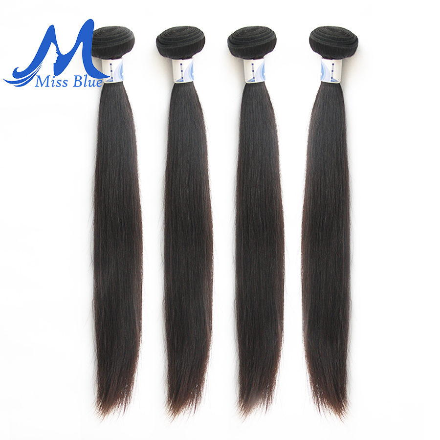 Missblue Peruvian Hair Weave Bundles Straight 100% Human Hair 34 36 38 40 Inch 3/4 Bundles Natural Color Remy Hair Extensions