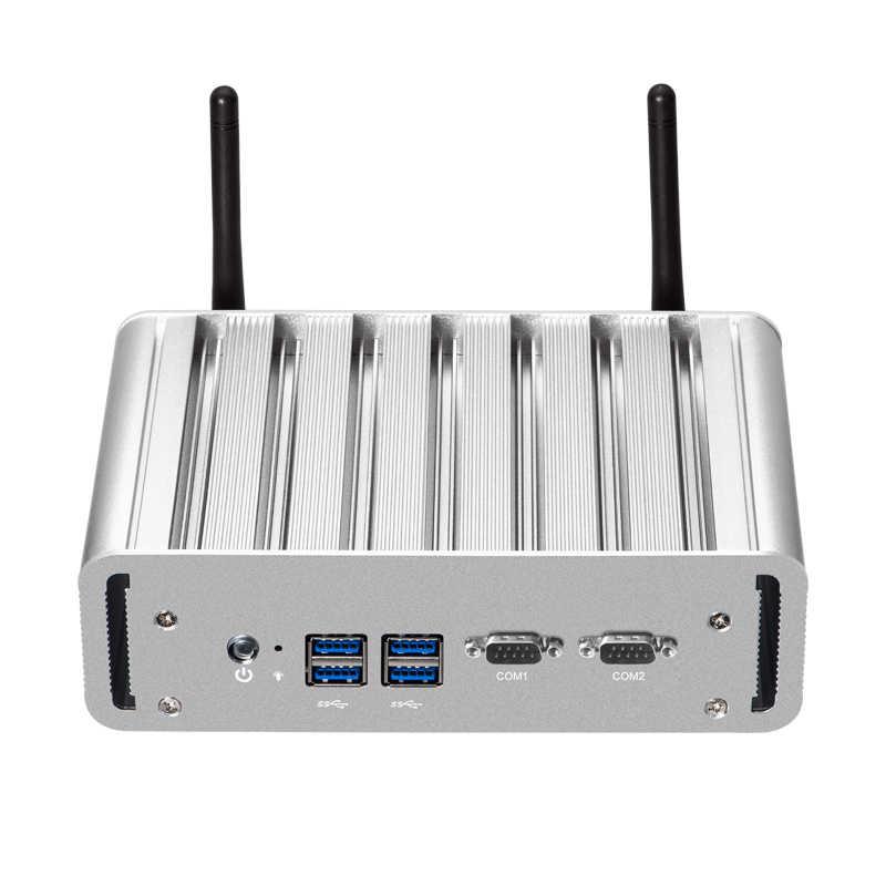 Intel Pentium 3805U מיני מחשב Windows לינוקס Dual Gigabit LAN הכפול RS232 HDMI VGA 4xUSB3. 0 WiFi Embedded תעשייתי מיקרו מחשב