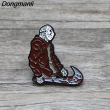 L1367 Friday the 13th Horror Pins Metal Brooches and Pins Enamel Pin for Backpack/Bag Badge Brooch T-shirt Collar Jewelry 1pcs k313 trick r treat horror pins metal brooches and pins enamel pin for backpack bag badge brooch t shirt halloween jewelry