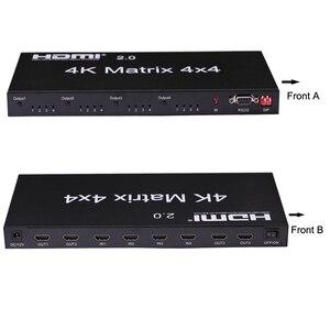 Image 2 - HDMI 2.0 4K 60Hz HDMI Matrix 4x4 Switcher Splitter 4 In 4 Out anahtarı bölünmüş 1080P gerçek Matrix ses Video dönüştürücü w/ RS232 EDID