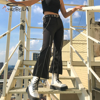 Imilybela Casual Flare Pants Women Sexy High Waist Zipper Black Skinny Wide Leg Pants Autumn Ankle Length Trousers Streetwear