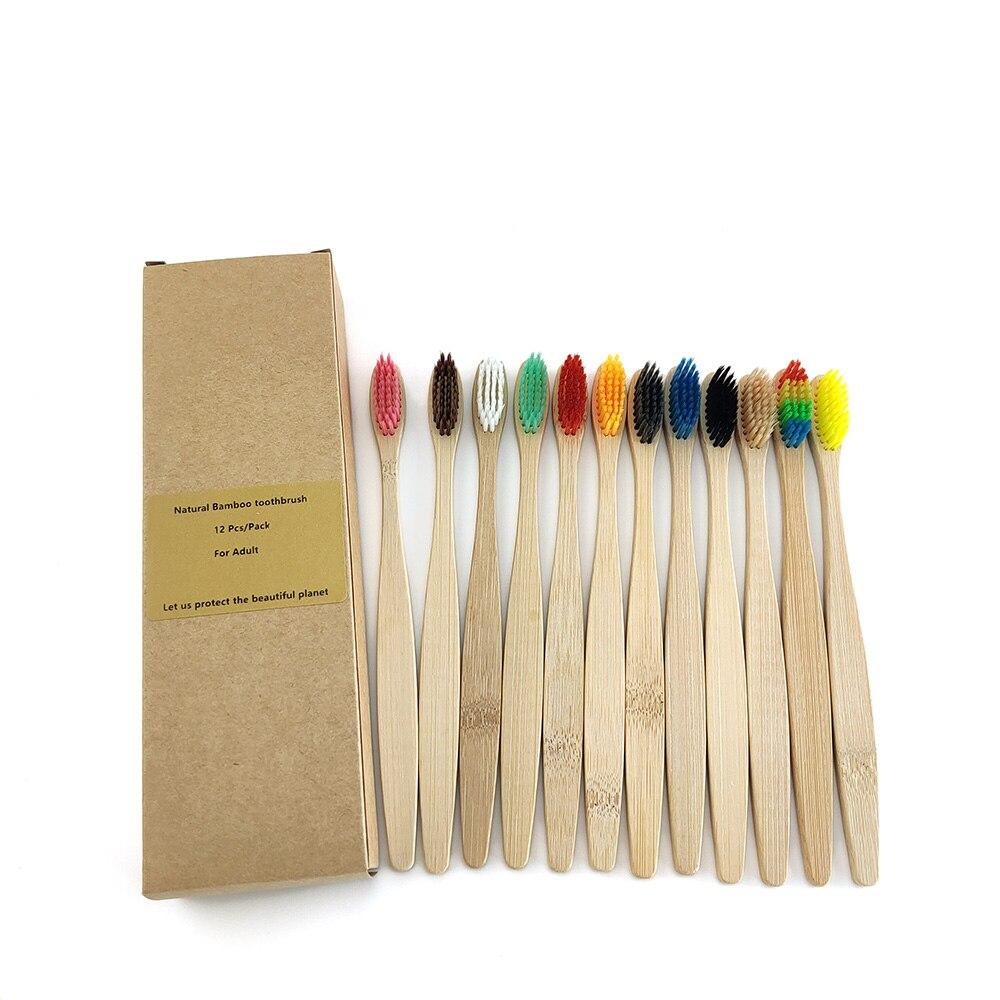 12pcs Environmental Bamboo  Toothbrush Soft Bristle Healthy Dental Oral Care Toothbrush
