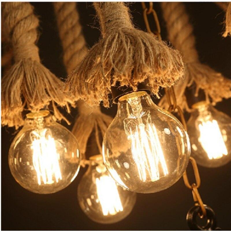 60cm Luz de neumático de coche Retro Industrial Loft LED luz colgante creativo de cuerda de cáñamo de hierro colgante lámpara de iluminación para restaurante bar - 5