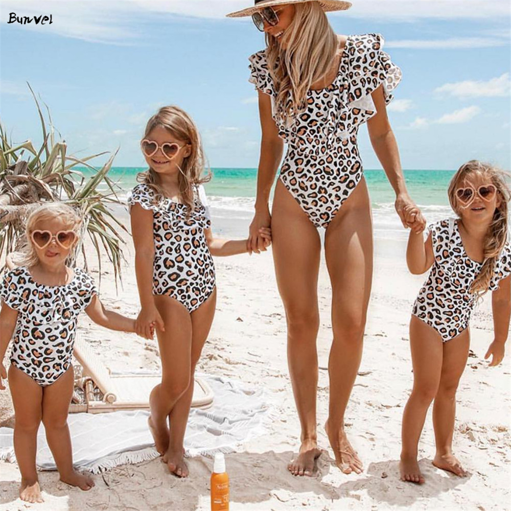 Bunvel 2020 One Piece Swimsuit Leopard Fly Sleeve Ruffle Push Up Swimwear Bathing Suit Brazilian Beach Wear Swimming Suit F